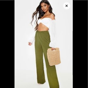 PrettyLittleThing Pants - PLT Green wise leg pants